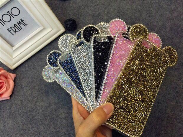 For Iphone 5s 6g 6plus 4.7 5.5 Mickey Mouse Ear Bling Cases Rhinestone Shiny Diamond Back Covercover Cell Phone Cases Phone Case From DENZ