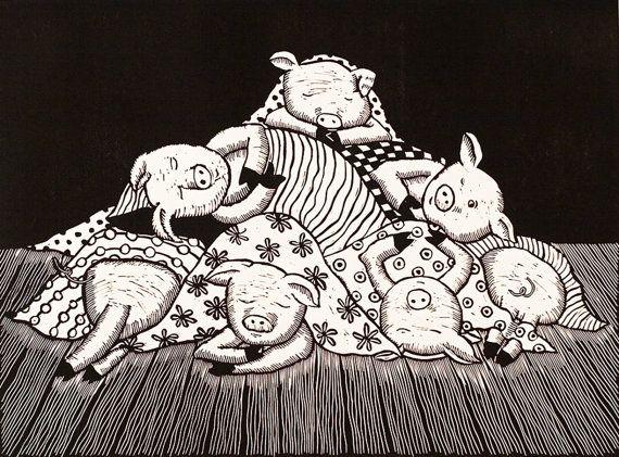 Linolschnitt Schweine in Decken Humor englischen von linocutheaven