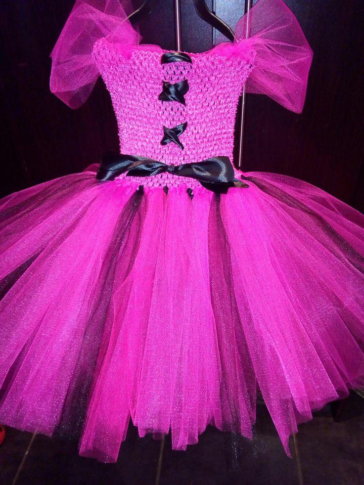 Pink and black princess tutu dress
