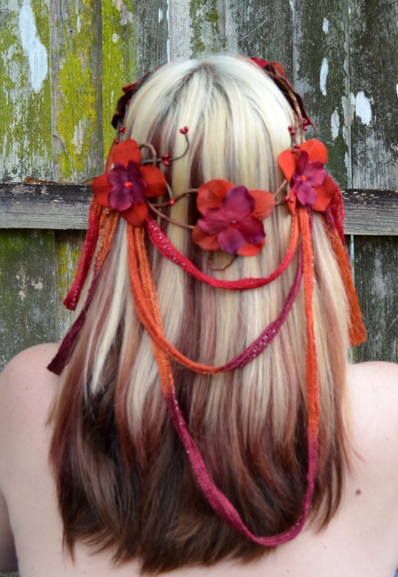 Dragoness  Fire Toned draping headpiece  by Frecklesfairychest, $55.00