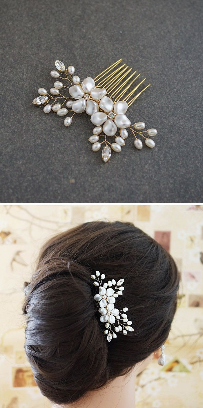 Handmade gold bridal Hair pieces from EarringsNation Bridal Hair comb Bridal headpieces