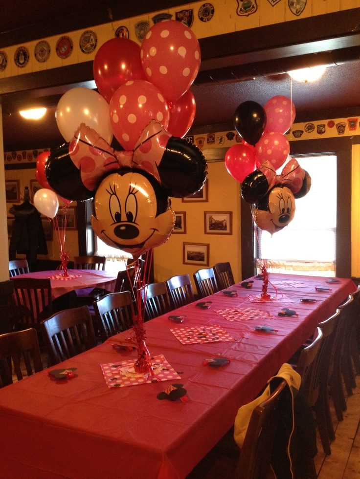 Minnie Mouse Party - minnie ballons for food/drink stations and kid tables