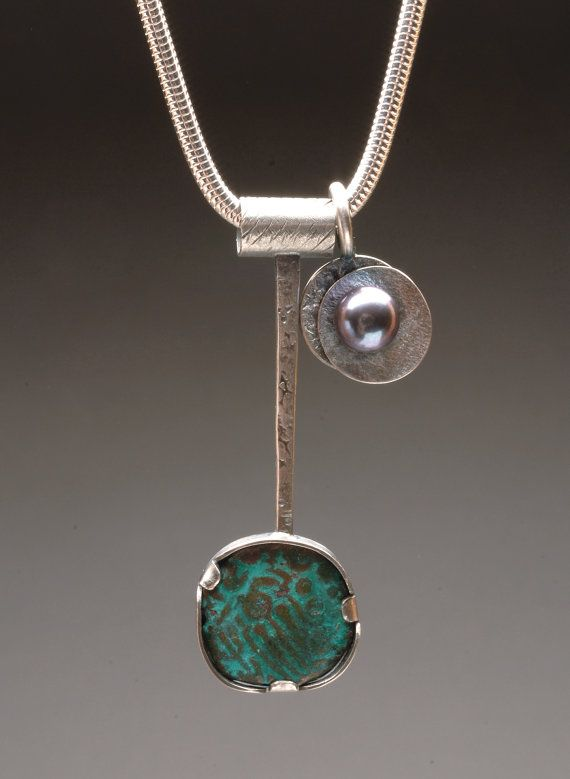 Ancient coin set in Sterling Silver bezel with pearl charm necklace on Etsy, $130.00