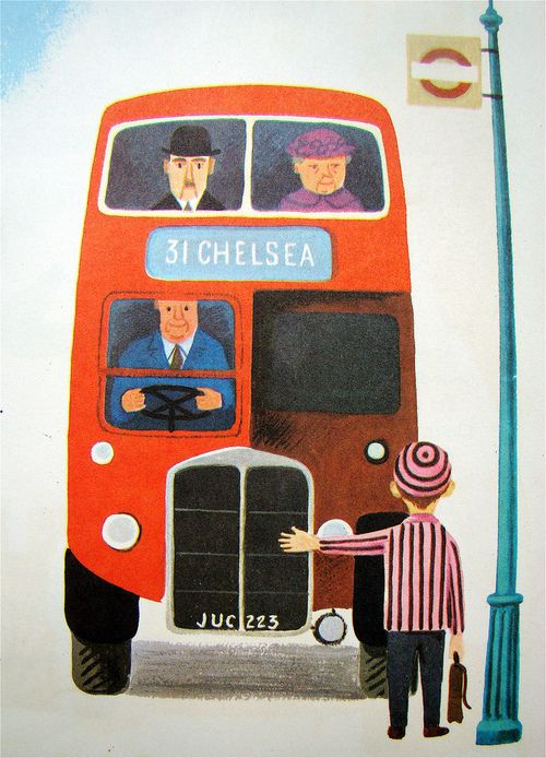 Red english bus, mid century illustration // illustration des années cinquante, bus anglais rouge