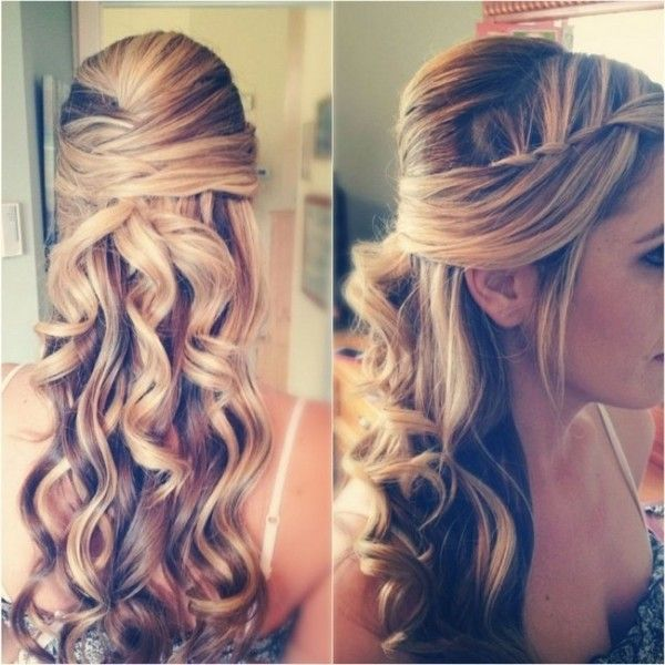 Curly Prom Hairstyles Half Up Down With Braid