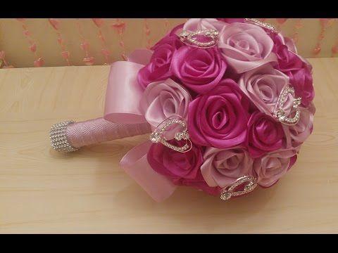 Свадебный букет Розовые розы из фомо 2 ч✔ Marine DIY✔ - YouTube