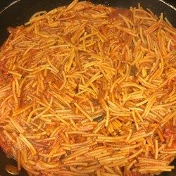 This fideo recipe was given to me by my mother in-law. Fideo pasta is toasted, then simmered in a tomato sauce seasoned with cumin and chili powder. It goes great with any meat dish including carne asada.  I use this recipe in place of rice as my side dish.