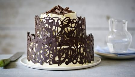 Chocolate creation showstopper. Mary Berry's choc fudge cake with white choc ganache.