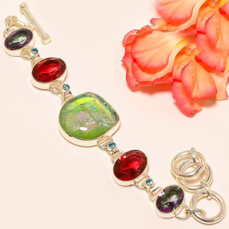 """Dichroic Glass, Pink Rubellite 925 Sterling Silver Jewelry Bracelet 7-8"""" #Handmade #Statement"""