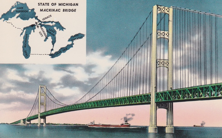 Vintage Postcard of Mackinac Bridge, MI: Mitten State, Vintage Postcards, Been Things I Ve, I Ve Been Things, Mighty Mac, Donnas Ideas, Mackinac Bridge, State Finds, Pure Michigan