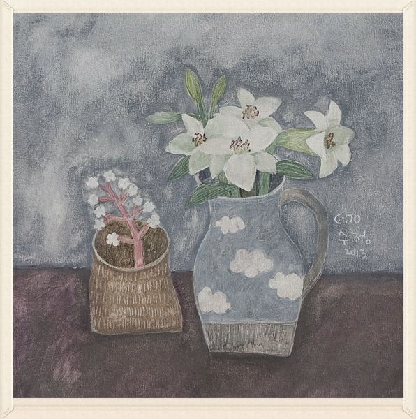 """https://flic.kr/p/oohTnz   still life with lilies and wild flowers   mixed media, 20""""x20"""""""