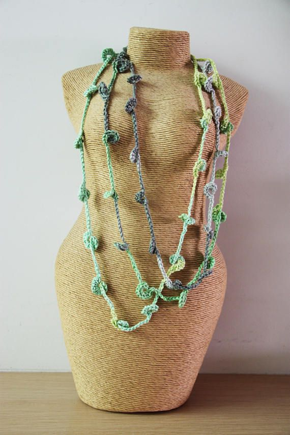 Green crochet necklace, three strand crochet necklace in minty green, long green boho necklace, unique crochet necklace