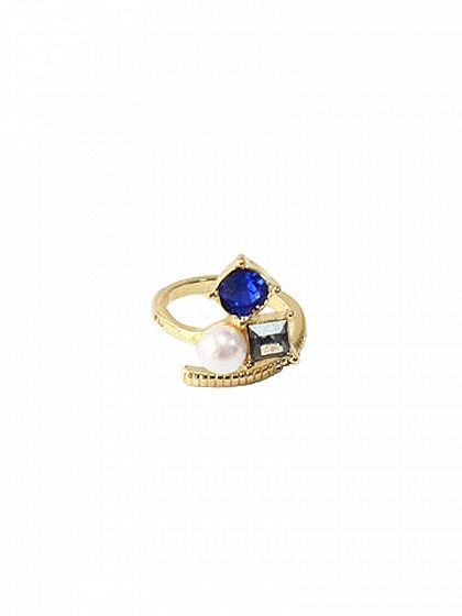 Blue and Black Rhinestone Finger Ring
