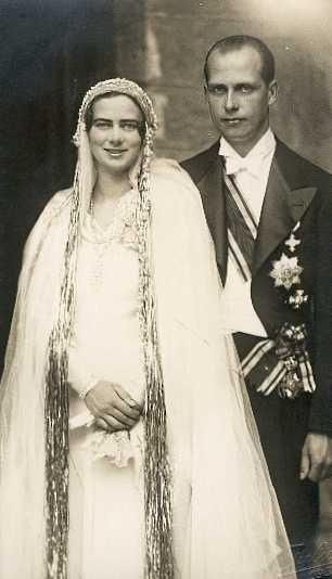 Happy couple!  Princess Ileana and her 1st husband, Archduke Anton, on their wedding day, 26 July, 1931.  After the wedding Ileana's jealous brother, King Carol II, denied her and Anton permission to live in Romania, claiming the Romanian people wouldn't tolerate a Habsburg living on their soil.