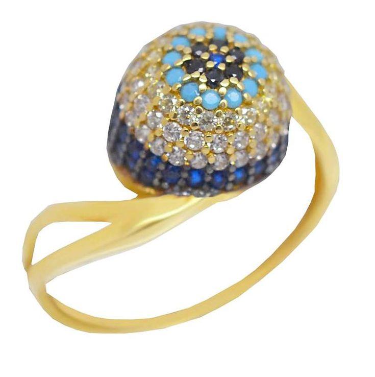 ΕΔ38P- Χρυσό δαχτυλίδι με πολύχρωμες πέτρες