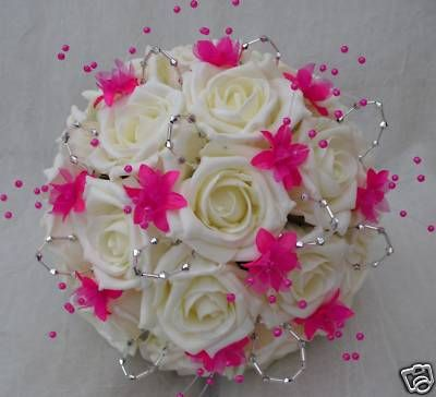 Change The Roses To Something Else Hot Pink Bouquet Wedding Flowers