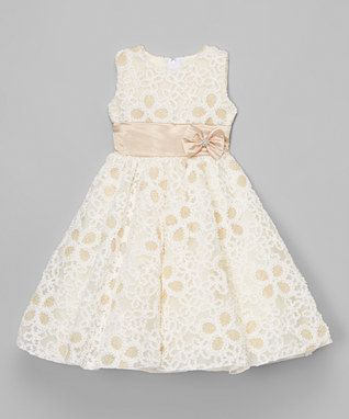 Cream Embroidered A-Line Dress