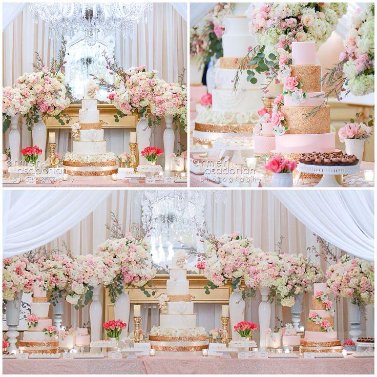 Blush pink gold flowers wedding cake