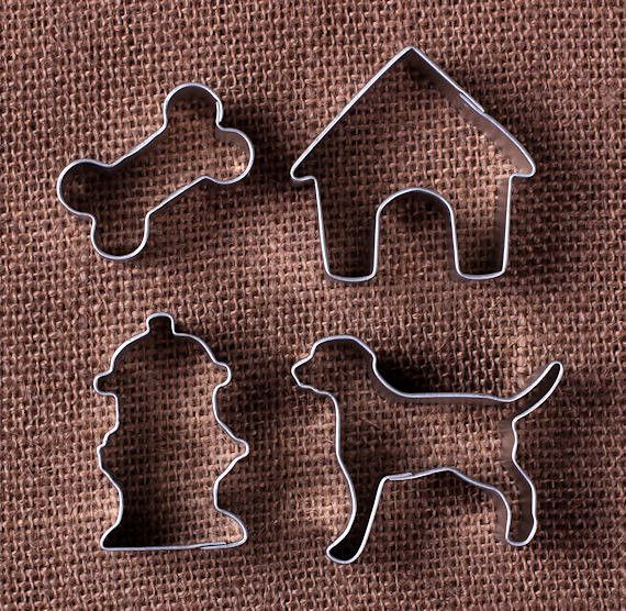 Mini Dog Cookie Cutters: Dog, Hydrant, Bone & Dog House