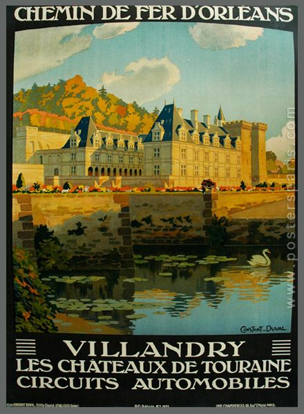 Vintage Railway Travel Poster - Villandry - Les Chateaux de Touraine.