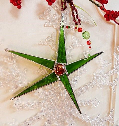 Traditional Stained Glass Christmas Star Kelly Green by miloglass, $16.00