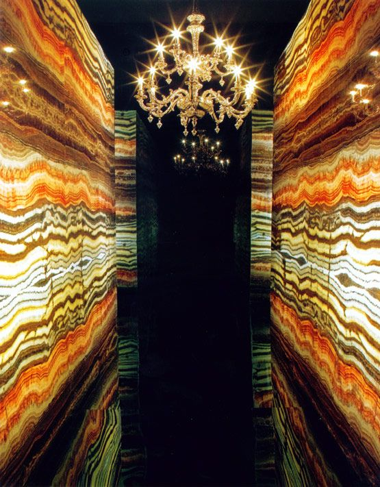 Exotic Natural Stone : Onyx marble entrance hall with back light exotic
