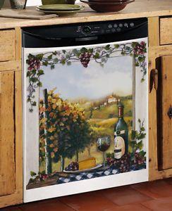 New Vineyard Window Scene Kitchen Dishwasher Cover Wine Grape Kitchen Decor Wine Themed
