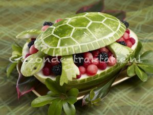 Gezonde Traktatie; Watermeloen schildpad. Wel eentje voor creatievelingen!