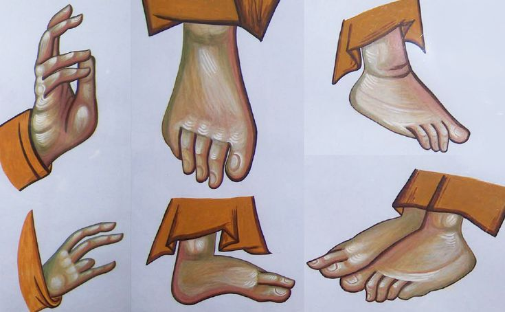 details - exercises: hands and feets, Byzantine Greek Macedonian School of Emmanouil Panselinos, original mural painting in Mount Athos, Greece