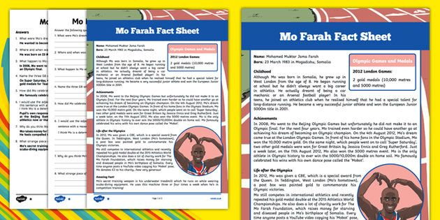 Great British Olympians: Mo Farah Differentiated Fact File Activity Sheets