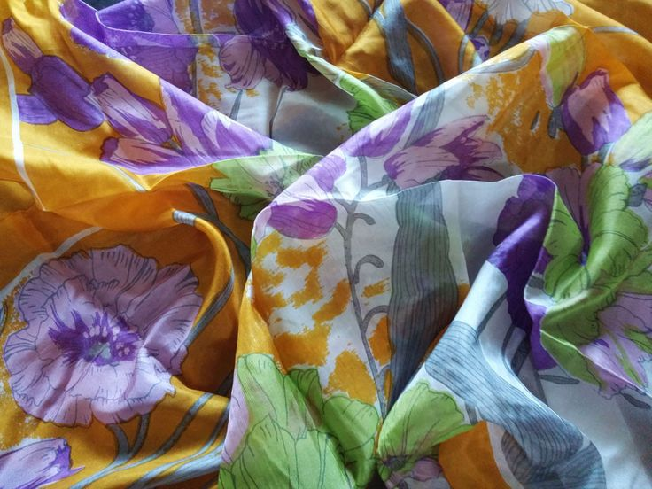 VINTAGE PURE SILK SCARF IN AN ARRAY OF BEAUTIFUL COLORS & FLOWERS