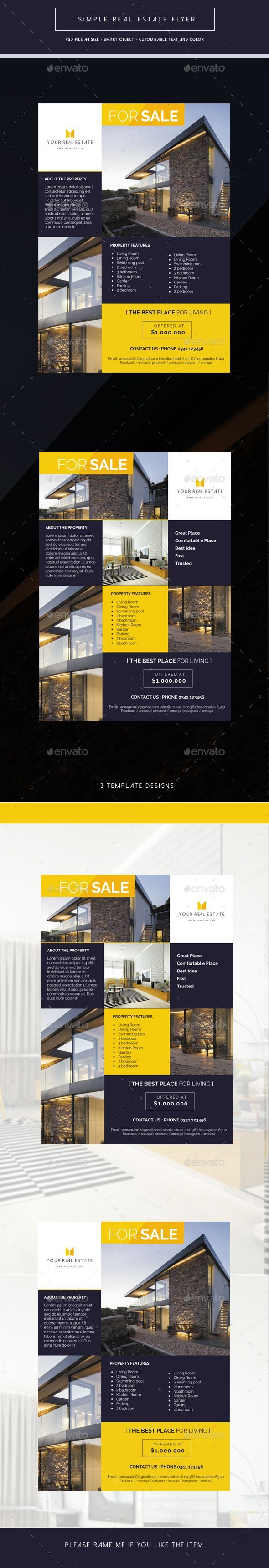 Simple Real Estate Flyer by vegasuz This Simple Real Estate Flyer Template, can be used for promote your property product, interior design, etc.  File features :  A4