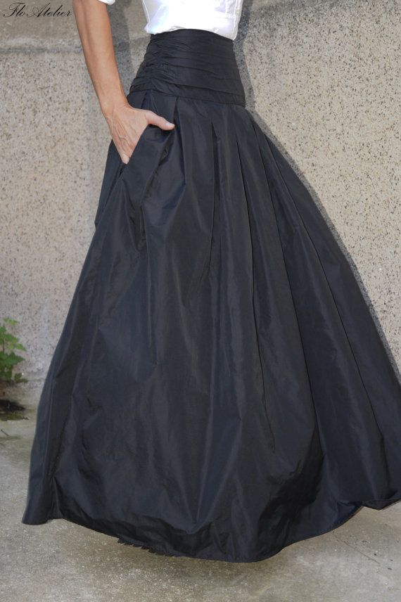 Long and flowing Taffeta skirt. Taffeta. £42.36 + shipping   FloAtelier, etsy