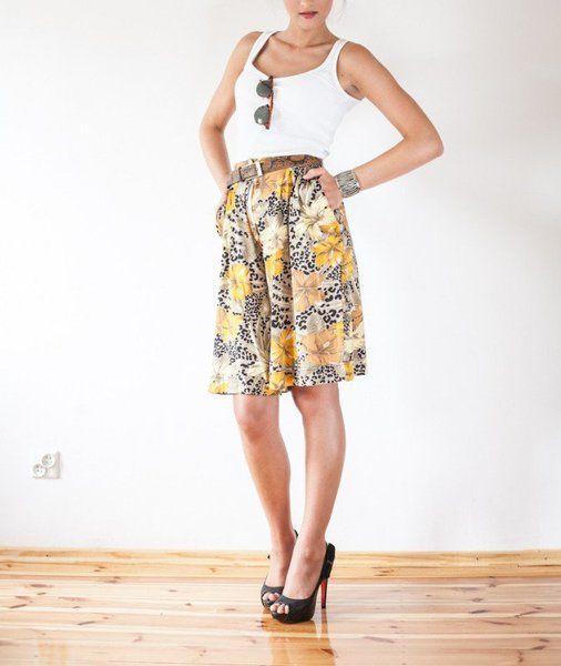 Savanna floral printed exotic skirts pants w Vintage For Ever  na DaWanda.com
