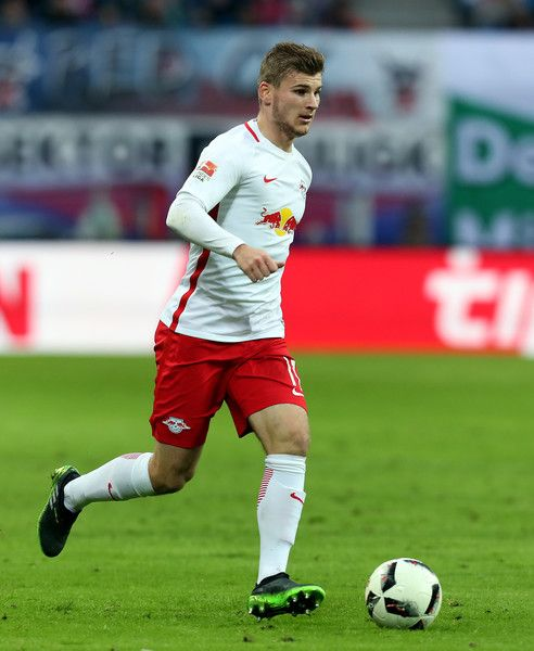 Timo Werner of Leipzig runs with the ball during the Bundesliga match between RB Leipzig and 1. FSV Mainz 05 at Red Bull Arena on November 6, 2016 in Leipzig, Germany.
