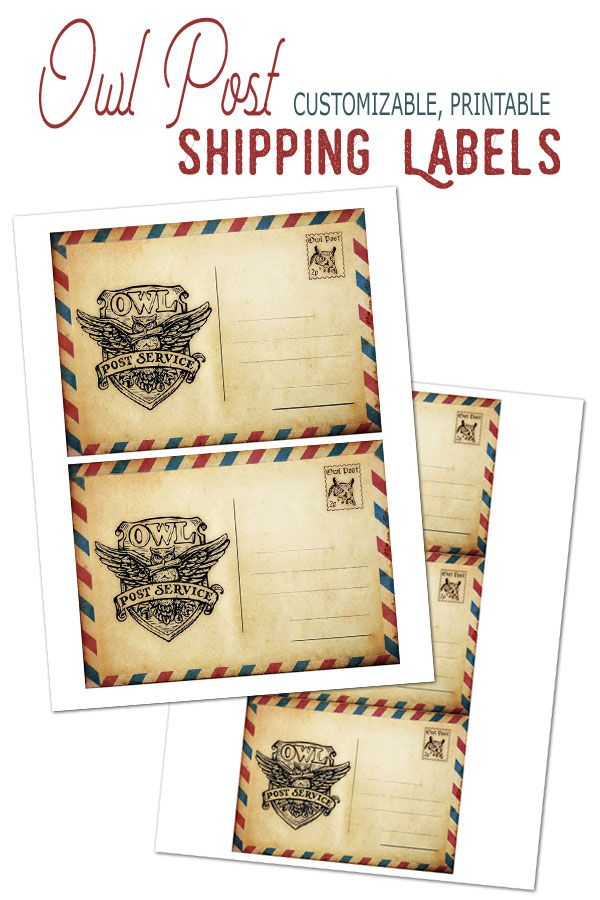 Tremendous Owl Post Printable Shipping Labels Postcard Personalised Birthday Cards Sponlily Jamesorg
