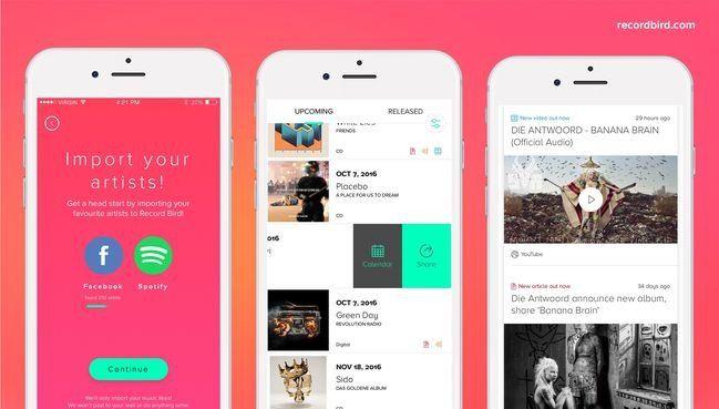 Record Bird, una app que te envían notificaciones para que conozcas los nuevos lanzamientos musicales -  Si eres un completo amante de la música, seguro esta aplicación te encantará. Hoy en la tarde entré a la App Store y me encontré con esta encantadora recomendación. Se trata deRecord Bird,una app que nos notifica cuando un artista o banda musical lanza su más reciente disco o sencillo. De esta... - https://notiespartano.com/2018/02/03/record-bird-una-app-te-env