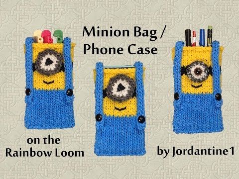 New Minion Bag / Phone Case / Purse / Pencil Pouch - Made on the Rainbow Loom - YouTube