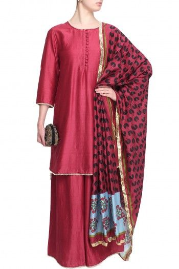 Surendri By Yogesh Chaudharymaroon quarter sleeves short kurta in chanderi base with pearl embroidered border on the cuffs, sleeves and hem. It has a front open maroon cloth buttons placket. It comes along with matching maroon chanderi palazzo pants with pearls embroidered border. It is paired with maroon dupatta with turquoise blue, olive and black print all over and gold lace border.