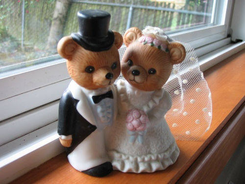 7 99 vntg homco 1424 home interior bride groom wedding bears figurine cake topper