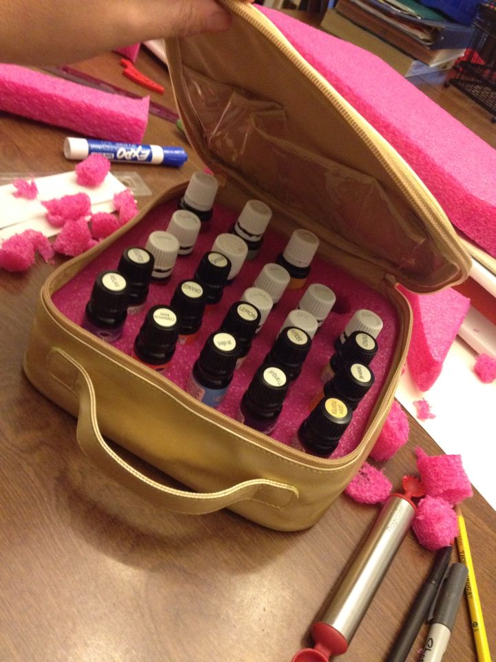 Essential Oil Carrying Case Diy I Made This From A Thrifted Makeup Bag And
