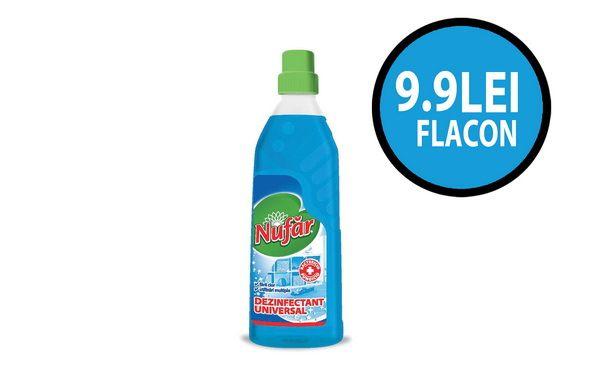 La fiecare flacon de Nufar dezinfectant universal, beneficiezi de un fabulous pret de 9.90 lei/flacon + TVA. Asta inseamna o reducere de 32% de la pretul de lista.