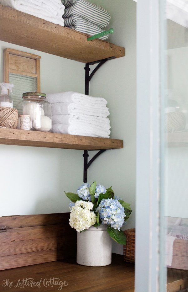 Laundry Room | Rustic Wood Shelves | Old Door Countertop