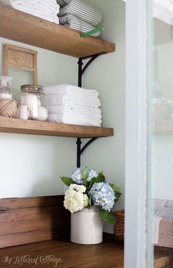 Laundry Room Rustic Wood Shelves Old Door Countertop Erin Pinterest