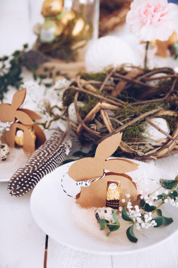 Egal ob als DIY Tischkarte oder als selbstgemachtes Mitbringsel zu Ostern - Anleitung für den Osterhasen mit Ferrero Rocher (inklusive Gratis-Vorlage)*