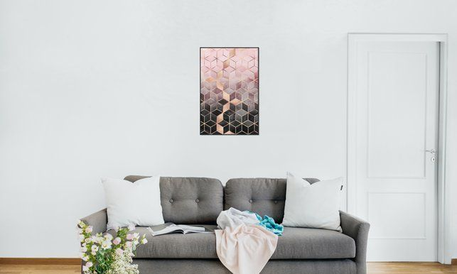 Pink Grey Gradient Cubes - Elisabeth Fredriksson - Poster in Standard Frame