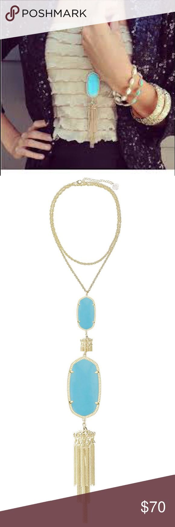 Kendra Scott Rayne Long Tassel Necklace, Turquoise Never worn! Beautiful gold turquoise tassel necklace from Kendra Scott. Comes with Kendra Scott jewelry bag. Love! 💕 Kendra Scott Jewelry Necklaces