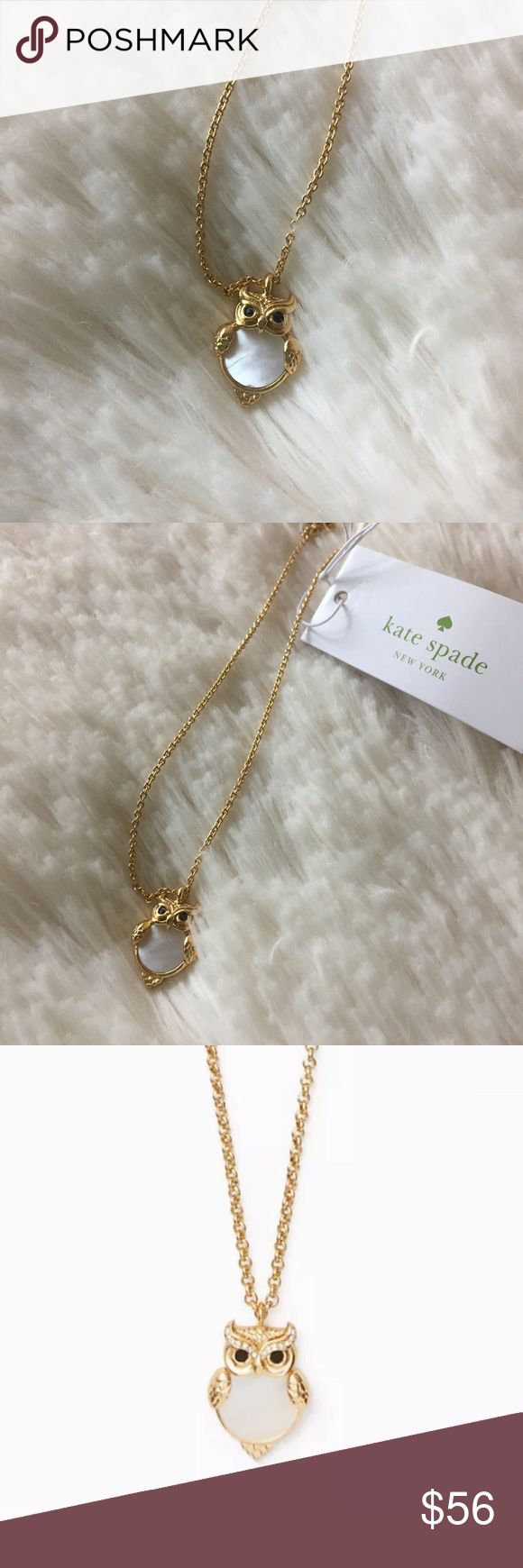 """Kate Spade Into The Woods Owl Necklace Whether you're the wise type or more of a night owl-- this owl necklace is the perfect way to show your love for the noble bird. Please note: this mini version does not have the crystals that the long chain version has. 24-karat gold plated metal. Lobster claw closure. Pendant 0.6""""; total chain length: 18"""" kate spade Jewelry Necklaces"""
