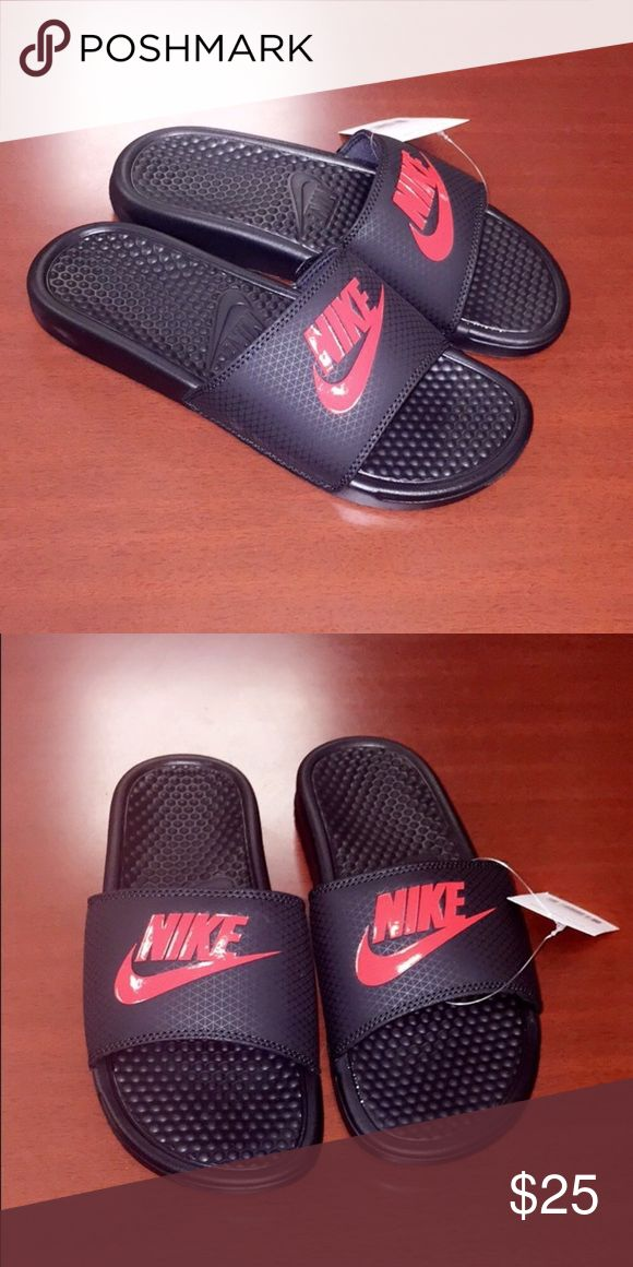 Men's RED & BLACK Nike slides Featuring a padded lining and grooved footbed for ventilation, these men's Nike sandals are perfect for post-game wear or relaxing on weekends. I also have black & white mens slides available on my page Nike Shoes Sandals & Flip-Flops