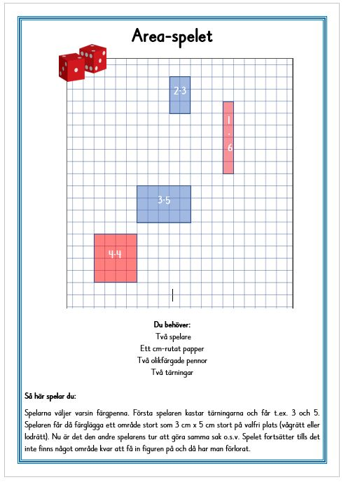 Area-spelet är ett enkelt multiplikations/area-spel.